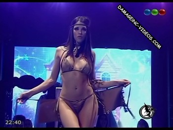 Maria Paz Delgado striptease on live TV show damageinc videos