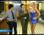 Sabrina Pettinato hot curves in a tight blue dress