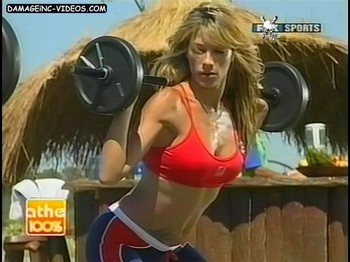 Catherine Fulop fitness beauty sweating