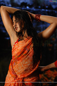 Anushka Shetty showing her shaved armpit in saree without blouse
